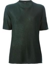 Camiseta con cuello circular verde oscuro