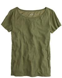 Camiseta con cuello circular verde oscuro de J.Crew