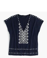 Camiseta con cuello en v azul marino de J.Crew