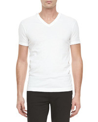 Camiseta con cuello en v blanca