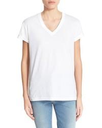 Camiseta con cuello en v blanca de Alexander Wang