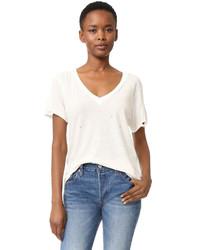 Camiseta con cuello en v blanca de Current/Elliott