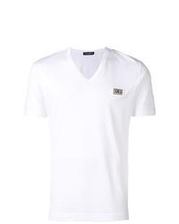 Camiseta con cuello en v blanca de Dolce & Gabbana