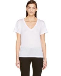 Camiseta con cuello en v blanca de J Brand