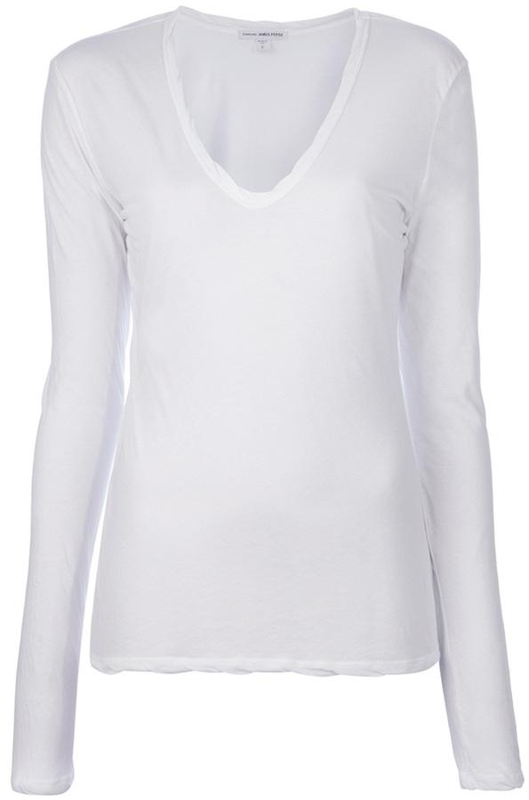 Camiseta con cuello en v blanca de James Perse