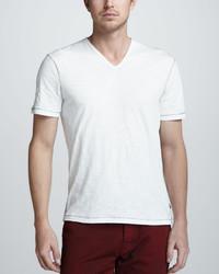 Camiseta con cuello en v blanca de John Varvatos