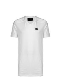 Camiseta con cuello en v blanca de Philipp Plein