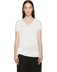 Camiseta con cuello en v blanca de Rick Owens