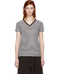 Camiseta con cuello en v de rayas horizontales en blanco y negro de Alexander Wang