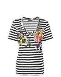 Camiseta con cuello en v de rayas horizontales en negro y blanco de Etro