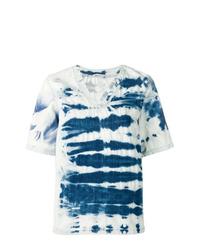 Camiseta con cuello en v efecto teñido anudado azul de Stella McCartney