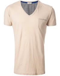 Camiseta con cuello en v en beige