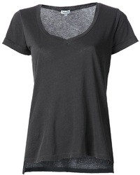 Camiseta con cuello en v en gris oscuro