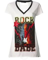 Camiseta con cuello en v estampada blanca