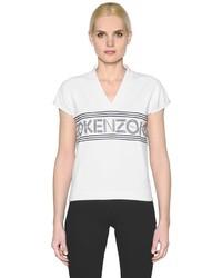 Camiseta con cuello en v estampada blanca de Kenzo