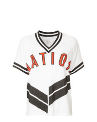 Camiseta con cuello en v estampada blanca de P.E Nation