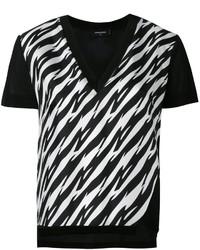 Camiseta con cuello en v estampada en negro y blanco