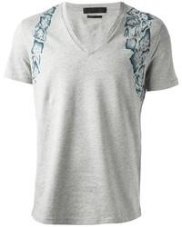 Camiseta con cuello en v estampada gris
