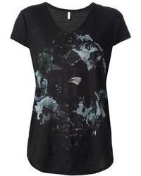 Camiseta con cuello en v estampada negra de Faith Connexion