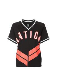 Camiseta con cuello en v estampada negra de P.E Nation