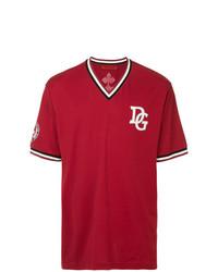 Camiseta con cuello en v estampada roja de Dolce & Gabbana