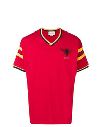 Camiseta con cuello en v estampada roja de Gucci