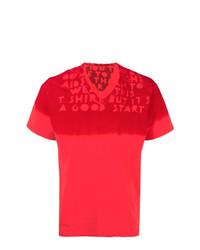 Camiseta con cuello en v estampada roja de Maison Margiela