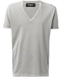 Camiseta con cuello en v gris