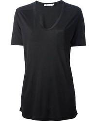 Camiseta con cuello en v negra de Alexander Wang