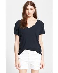 Camiseta con cuello en v negra de Current/Elliott