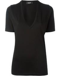 Camiseta con cuello en v negra de Dsquared2
