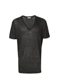 Camiseta con cuello en v negra de Etro