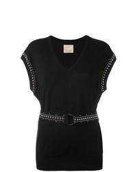 Camiseta con cuello en v negra de Laneus