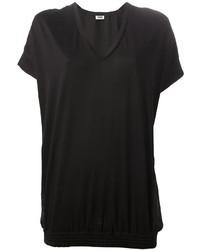 Camiseta con cuello en v negra de Sonia Rykiel