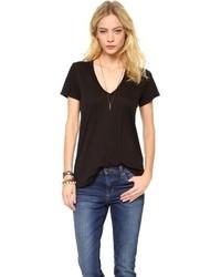 Camiseta con cuello en v negra de Splendid