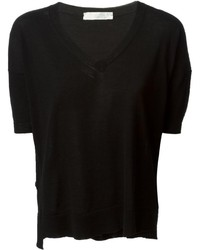 Camiseta con cuello en v negra de Zanone
