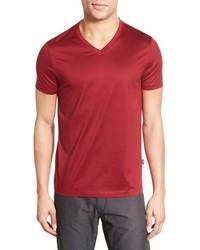 Camiseta con cuello en v roja de BOSS