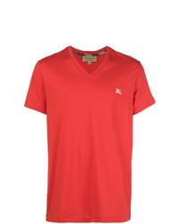 Camiseta con cuello en v roja de Burberry