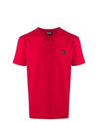 Camiseta con cuello en v roja de Ea7 Emporio Armani