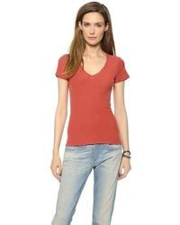 Camiseta con cuello en v roja de James Perse
