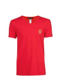 Camiseta con cuello en v roja de Versace