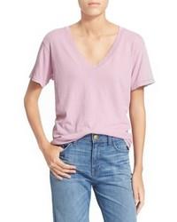 Camiseta con cuello en v rosada de Current/Elliott