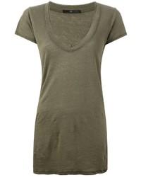Camiseta con cuello en v verde oliva