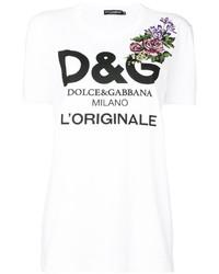 Camiseta con print de flores blanca de Dolce & Gabbana