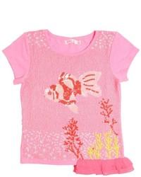 Camiseta de lentejuelas con adornos rosa de Billieblush