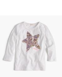 Camiseta de lentejuelas de estrellas blanca de J.Crew