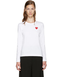 Camiseta de Manga Larga Blanca de Comme des Garcons