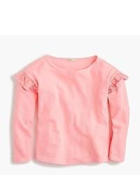Camiseta de manga larga con volante rosada