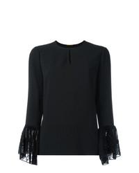 Camiseta de manga larga de encaje negra de Saint Laurent