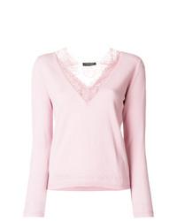Camiseta de manga larga de encaje rosada de Twin-Set